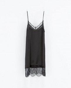Vestidos lenceros otoño 2013 - Zara negro
