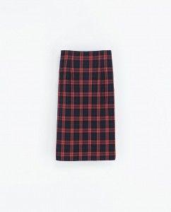 Falda tubo cuadros Zara