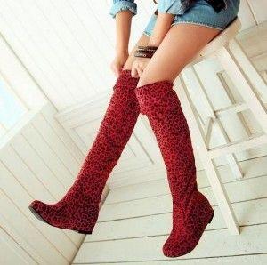 Botas altas por encima de las rodillas - ante rojas