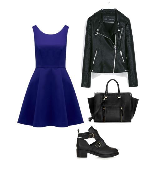 Cómo combinar un vestido azul Klein para ir de compras con tus amigas