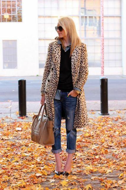 Cómo llevar vaqueros boyfriend - Abrigo leopardo