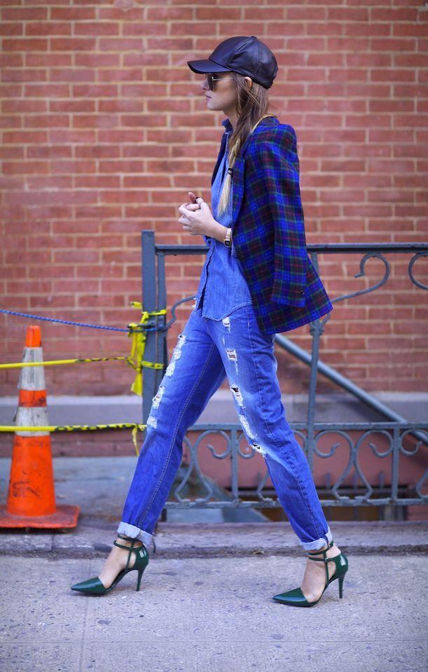 Cómo llevar vaqueros boyfriend - Blazer azul