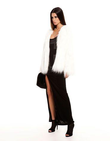 Estilo grunge de la nueva colección de Bershka - Fur coat