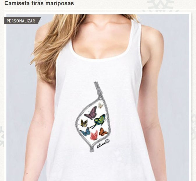 Ropa hecha a mano online - Camiseta tiras mariposas