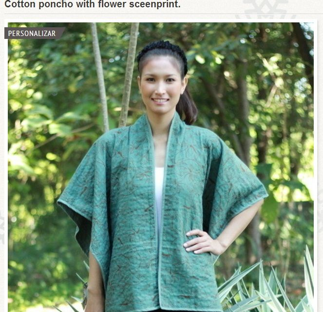 Ropa hecha a mano online - Cotton poncho with Flower