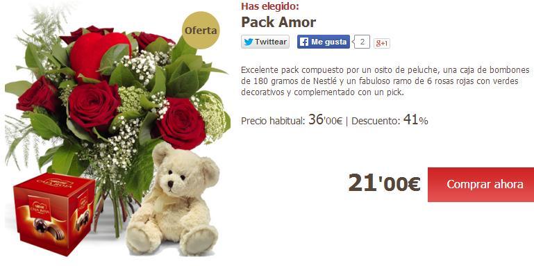Enviar flores a domicilio baratas - Pack San Valentín