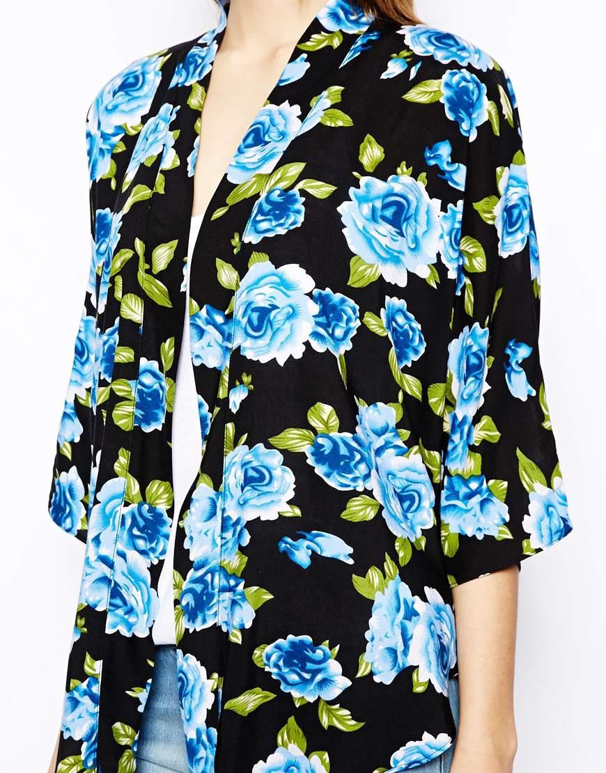 Chaqueta kimono online - Flores azules