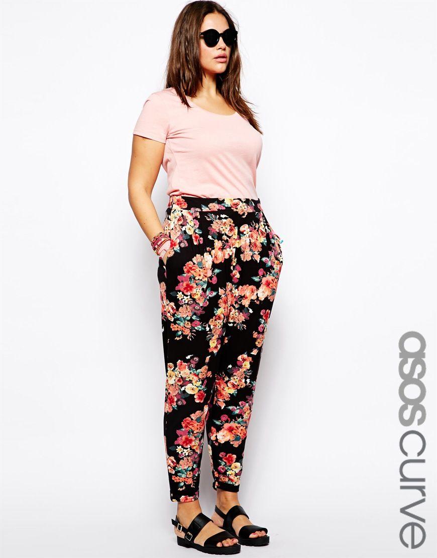 Ropa de tallas grandes - Pantalón de flores de Asos