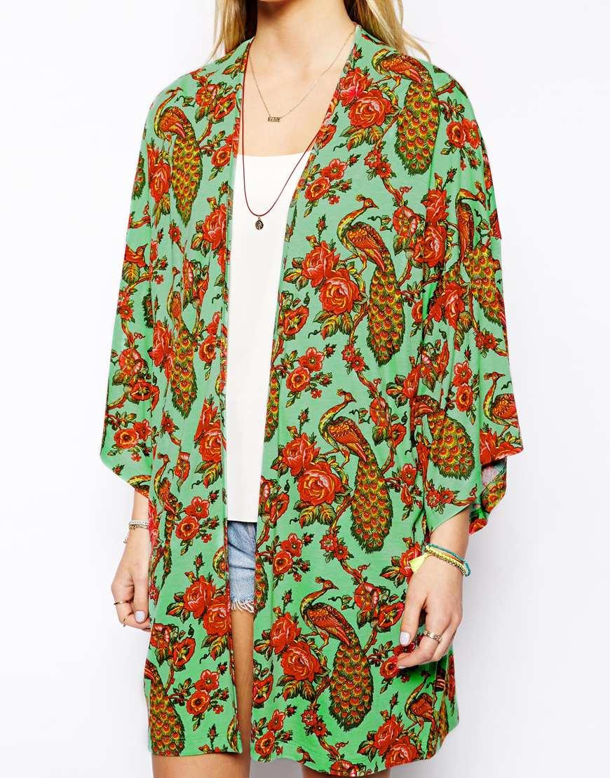 Chaqueta kimono online - Pavo real