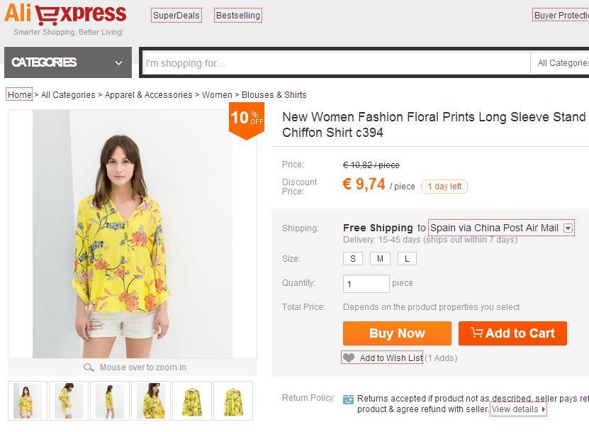 Imitaciones chinas Zara - Camisa en Aliexpress