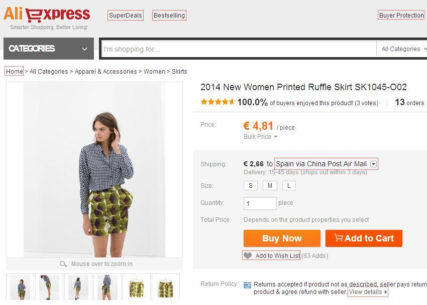 Imitaciones chinas Zara - Falda en Aliexpress