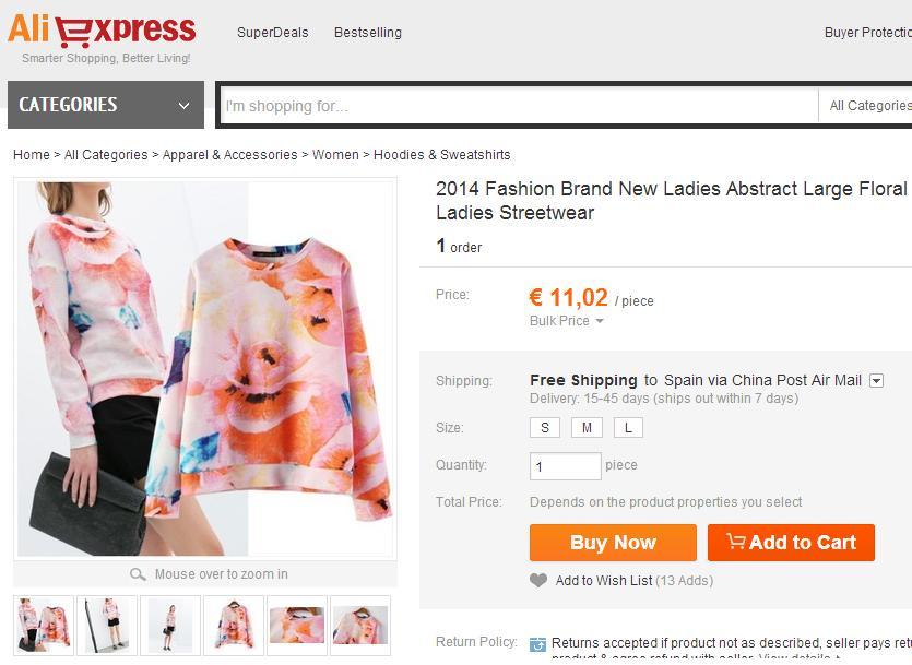 Imitaciones chinas de Zara - Sudadera en Aliexpress