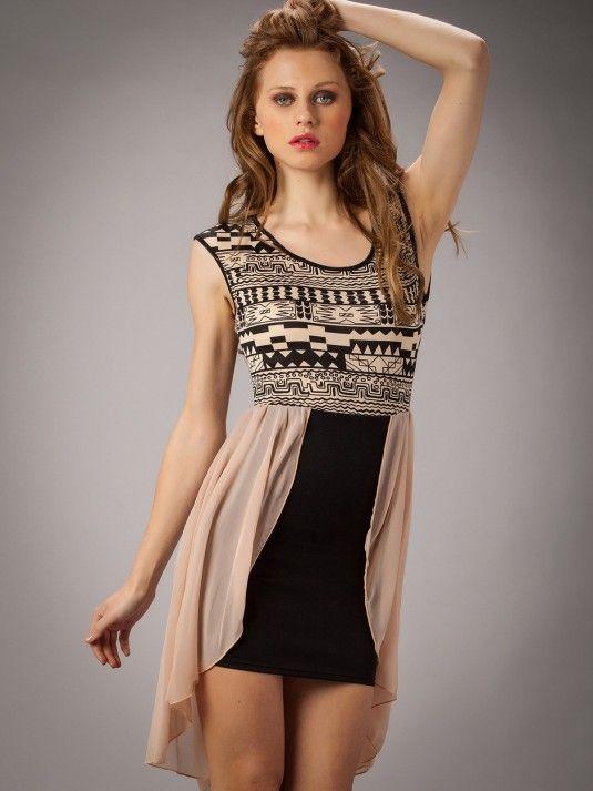 Vestidos online - Vestido estampado con falda de gasa