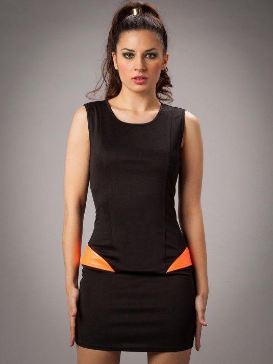 Comprar vestidos online - Vestido negro y naranja