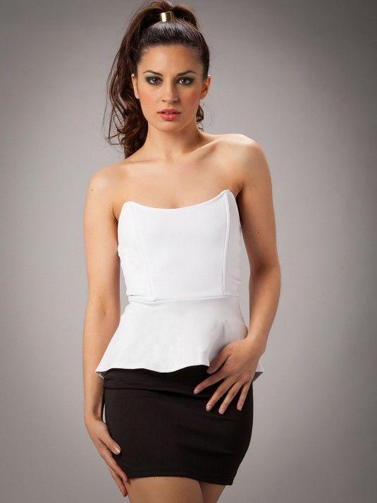 Comprar vestidos online - Vestido peplum doble color