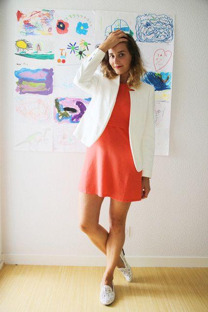 Combinar un vestido rojo - Chaqueta blanca