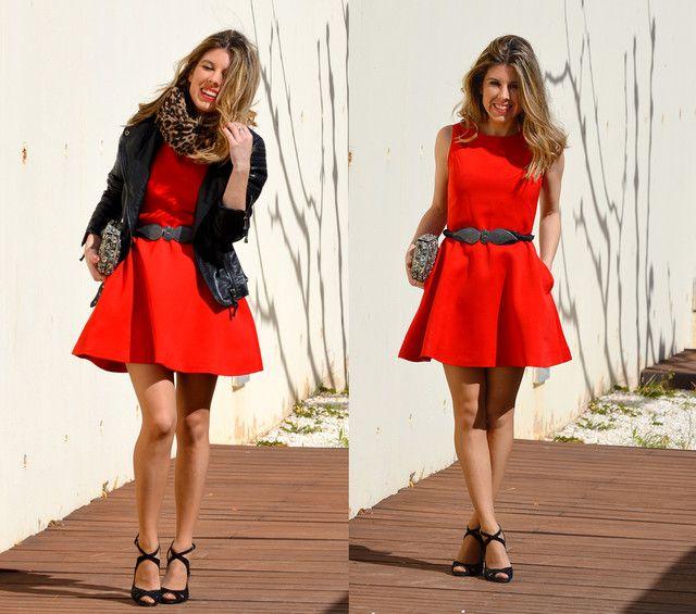 Cómo combinar un vestido rojo - Complementos negros