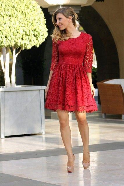Combinar un vestido rojo - Zapatos nude