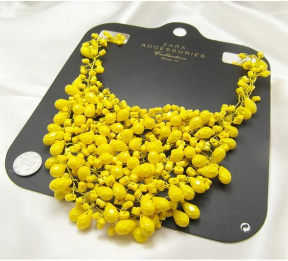 07d7cd604d88 ... Collares de imitación- Collar amarillo ...