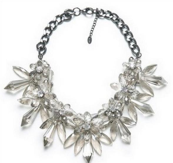 Collares de imitación - Collar flores transparentes