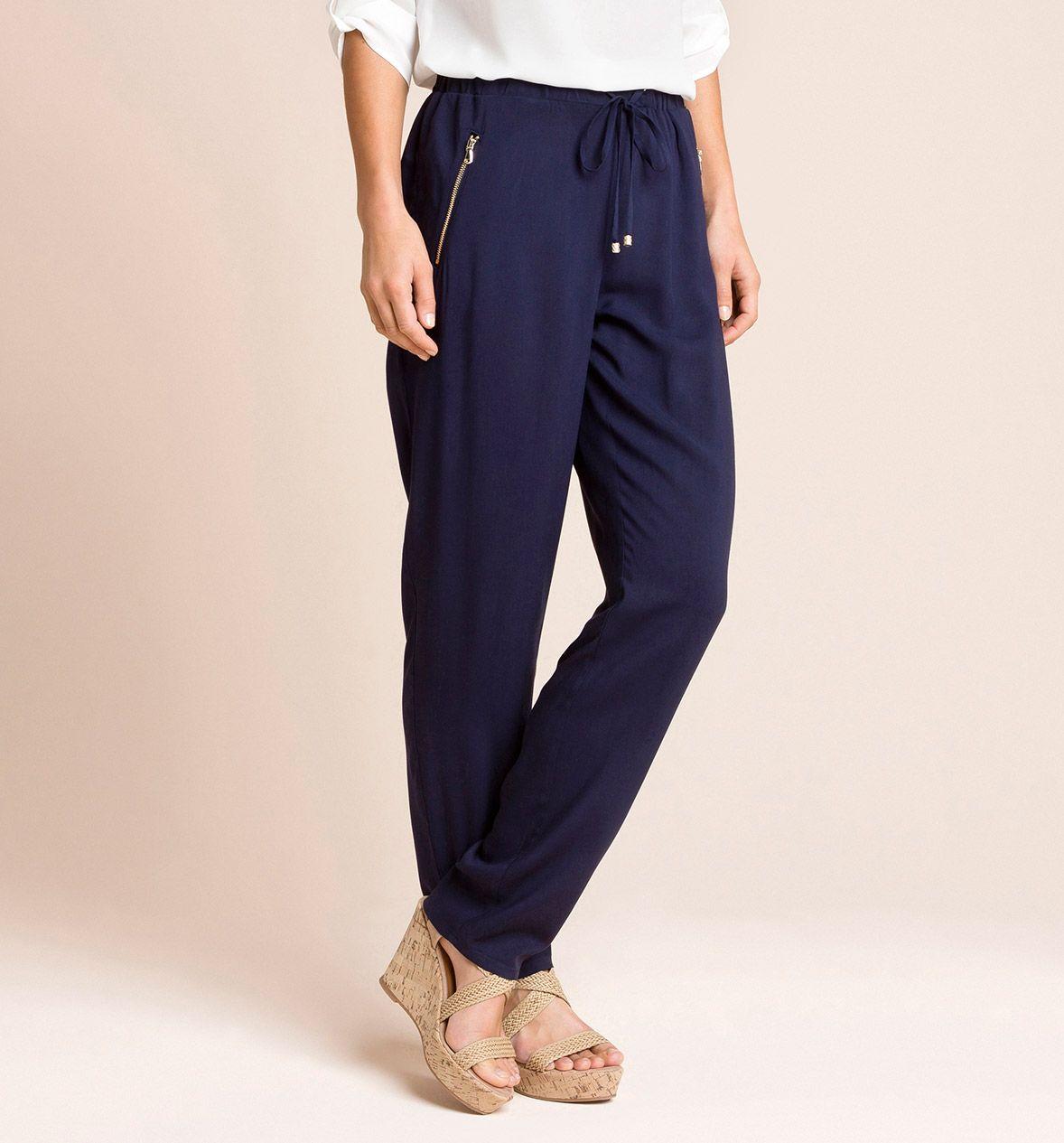 Pantalones fluidos azul marino