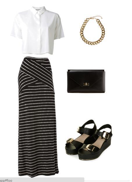 Cómo combinar una falda larga - Blanco y negro