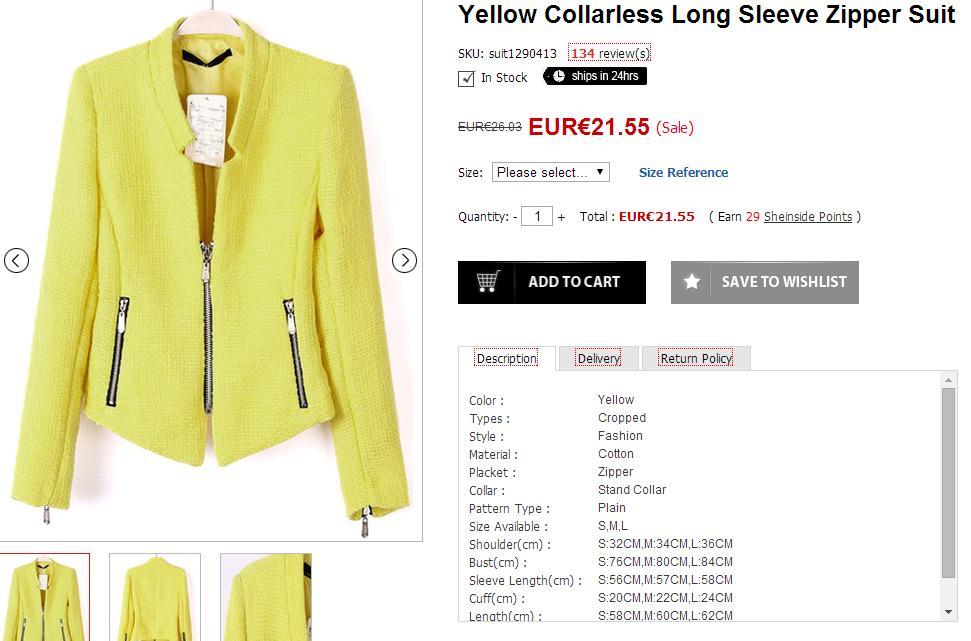 Selección de prendas para el verano - Chaqueta amarilla