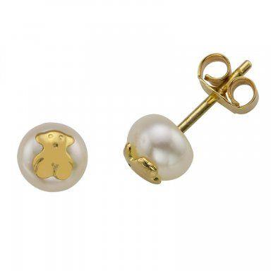 Pendientes de Tous de oro y perla