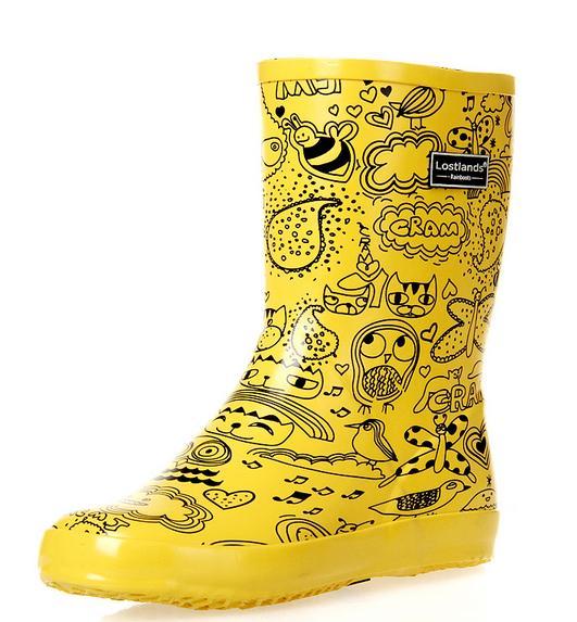 Botas de agua amarillas con dibujos