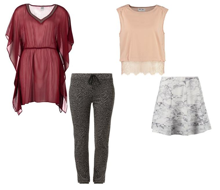 Vero Moda - Looks 2 y 3 - Camisola y pantalón fluido. Camiseta con puntilla y falda.
