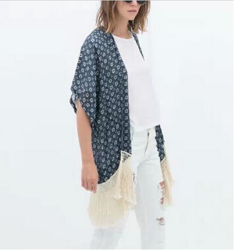 Kimono de Zara - Kimono azul de flecos