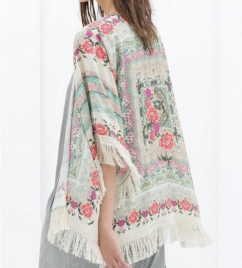 Kimonos de Zara - Kimono con flecos