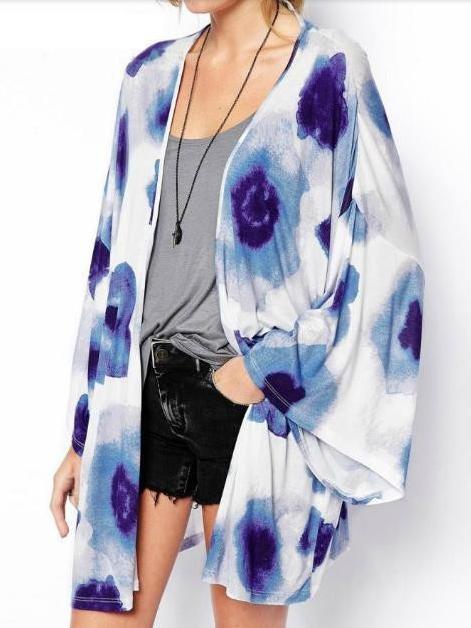 Kimono de flores azules