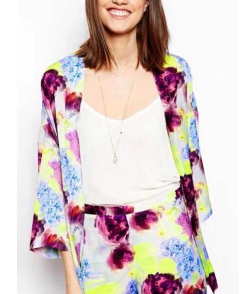 Kimono de flores de colores