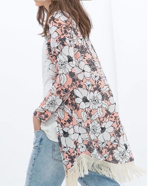 Kimonos de Zara - Kimono de flores rosa