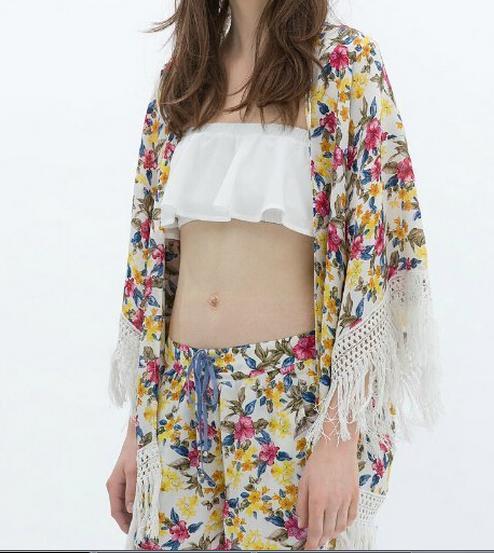 Kimono de Zara - Kimono media manga con flecos