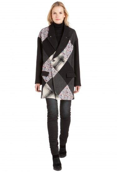Custo Barcelona - Abrigo negro y blanco
