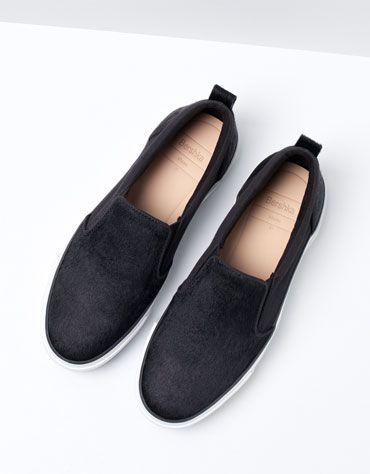 Zapatos Bershka - Sleapers de pelo