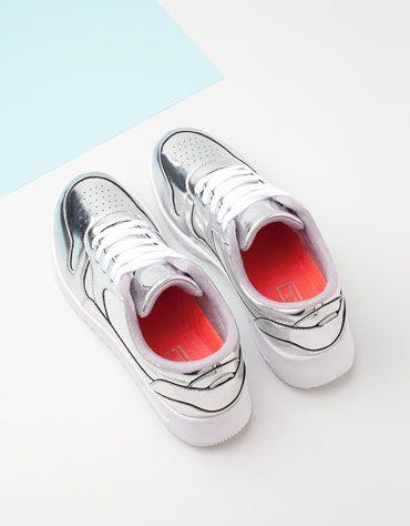 Zapatos Bershka - Zapatillas plateadas