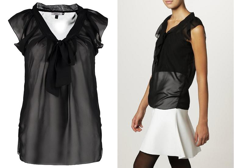 Blusa de fiesta negra transparente