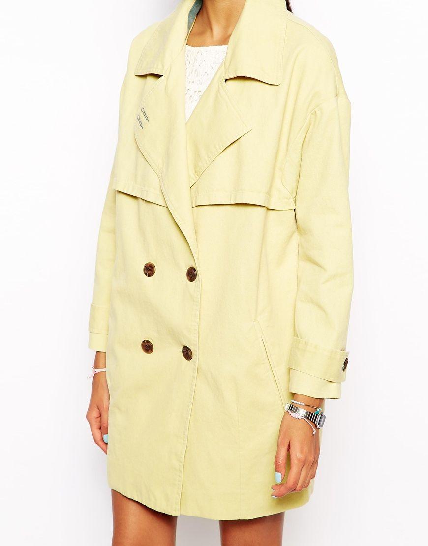 Gabardinas para mujer amarillo clarito