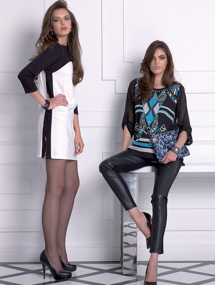 Almatrichi online - Vestido blanco y negro. Top y pantalón