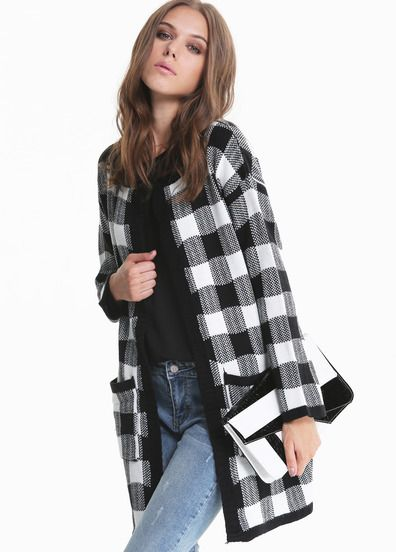 Abrigos de temporada - Abrigo de cuadros blanco y negro