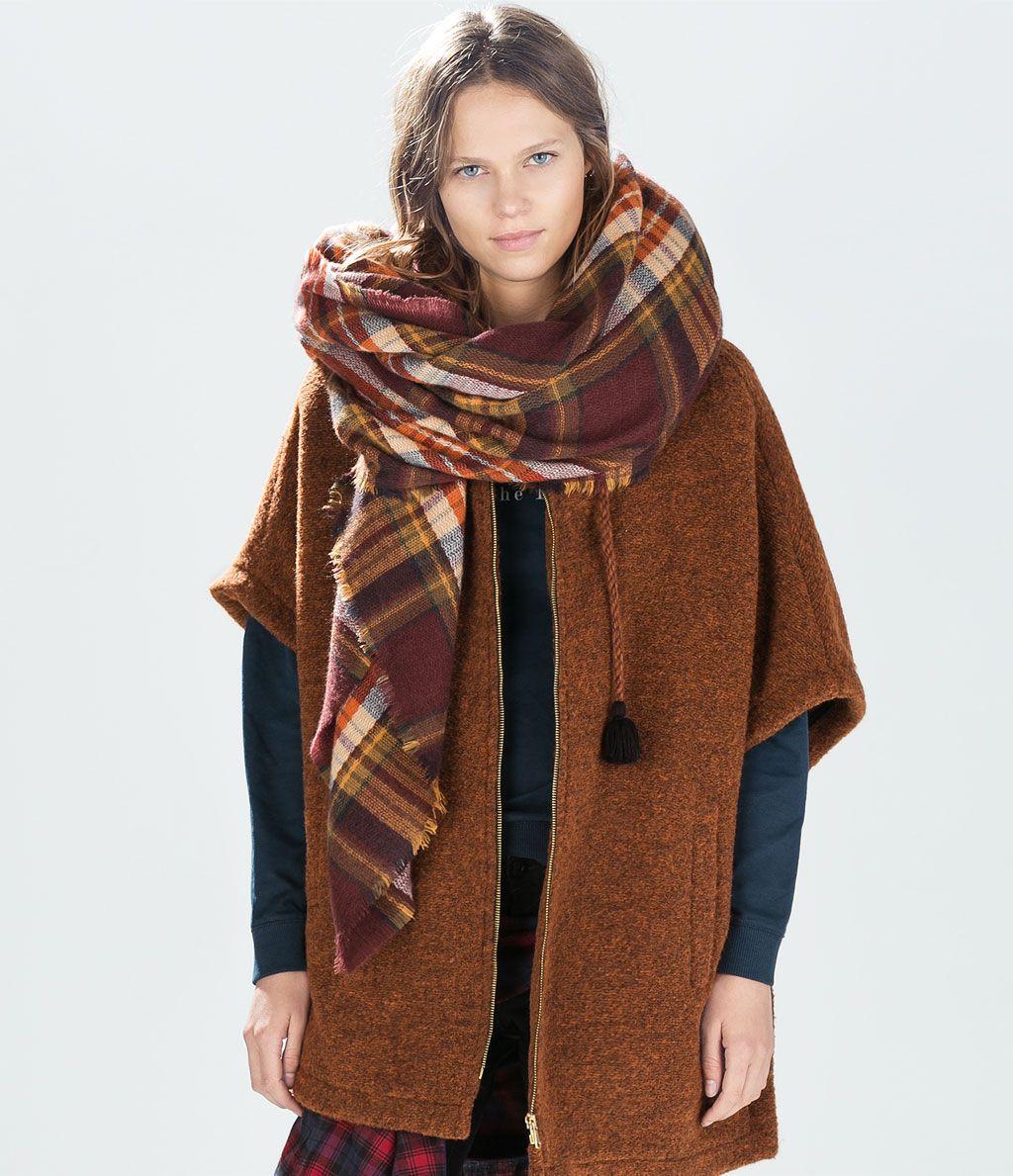 Bufanda de cuadros marrón