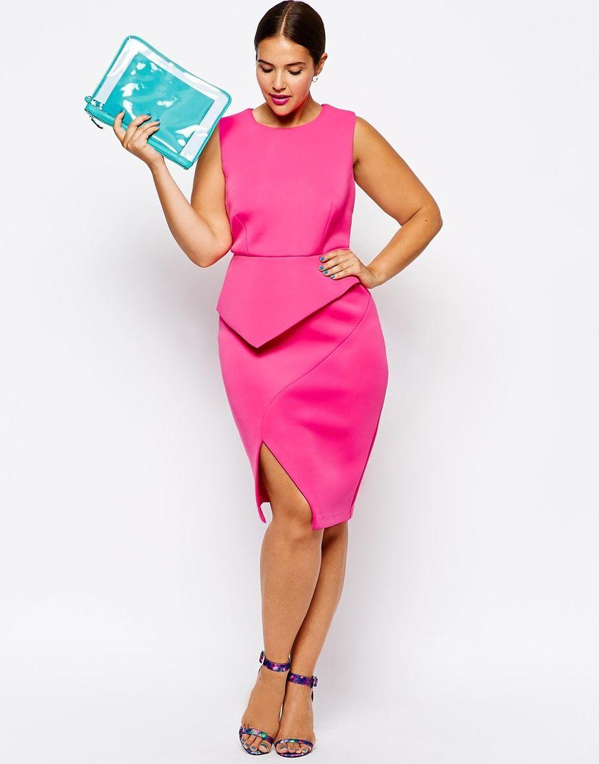 Vestidos tallas grandes - Vestido rosa origami