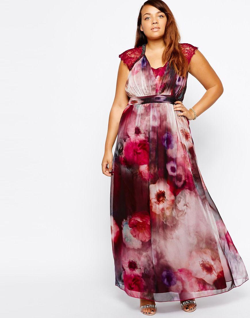 Vestidos de fiesta de tallas grandes - Vestido largo de flores