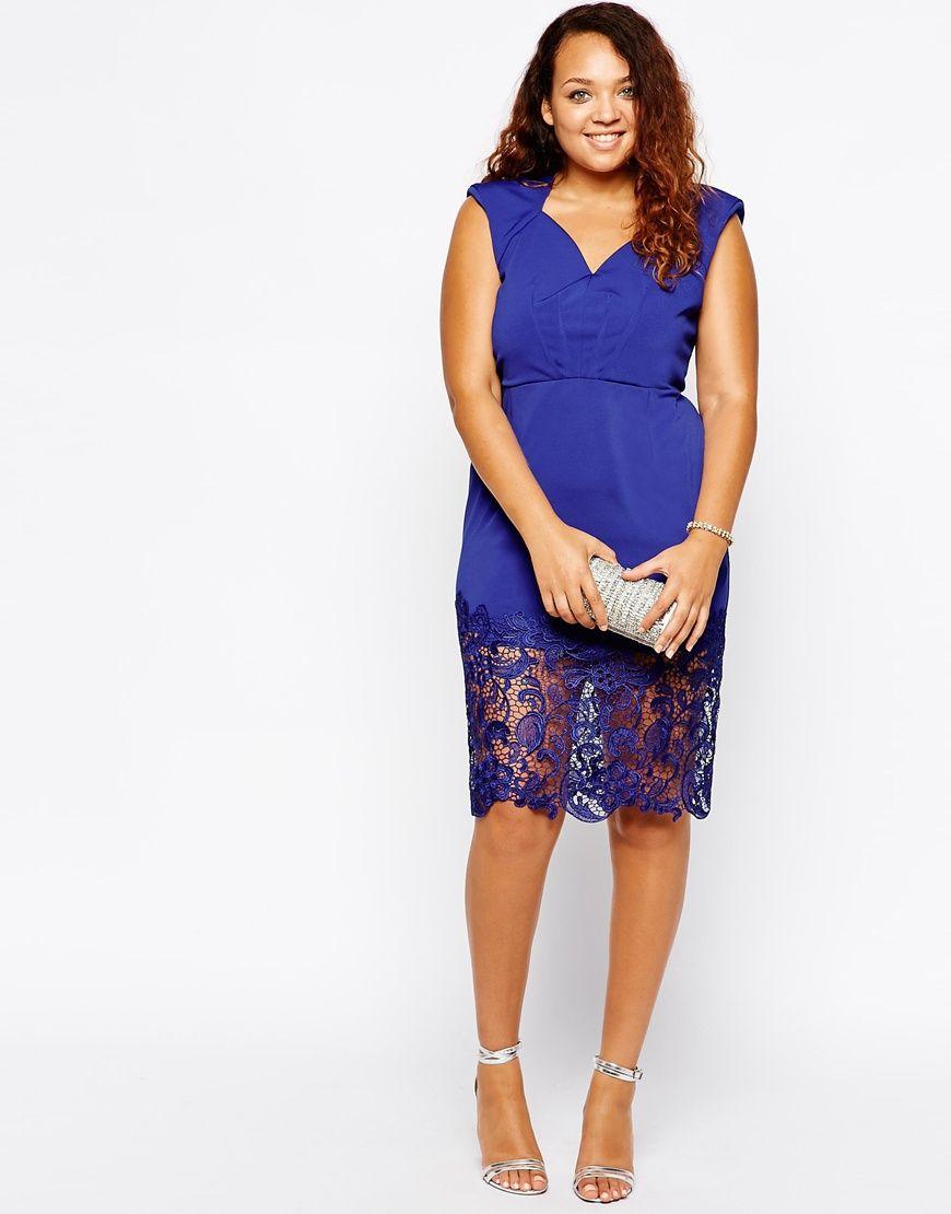 Vestidos tallas grandes - Vestido azul encaje