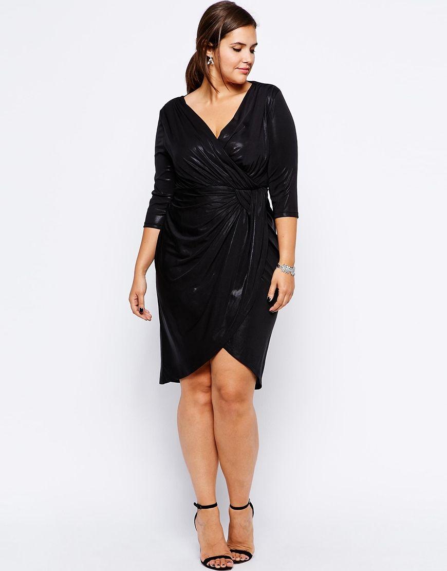 Vestidos tallas grandes - Vestido negro tipo batín