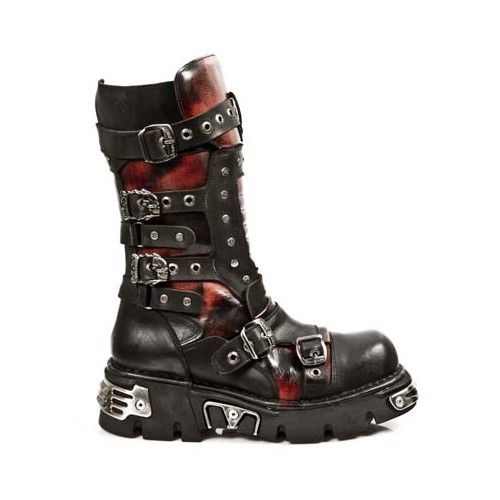 Botas New Rock - Bota media rojo y negro