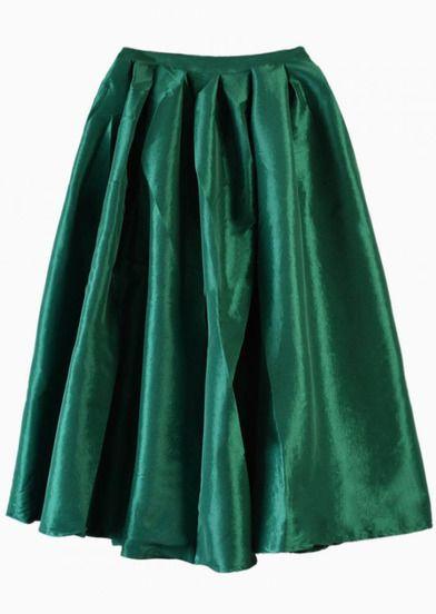 Falda midi verde brillante